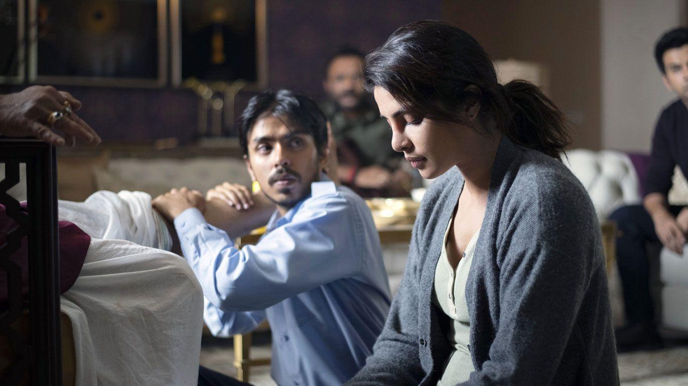 "Adarsh Gourav, Priyanka Chopra Jonas in ""The White Tiger."""