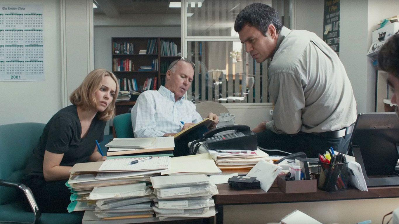 """Rachel McAdams, Michael Keaton, Mark Ruffalo in """"Spotlight."""""""