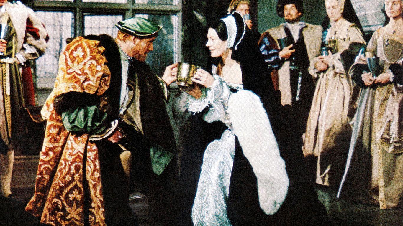 "Robert Shaw as King Henry VIII, Vanessa Redgrave as Anne Boleyn in ""A Man for All Seasons."""