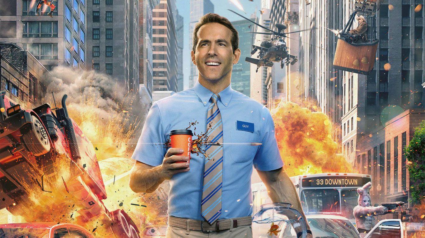 "Ryan Reynolds in key art for ""Free Guy."""