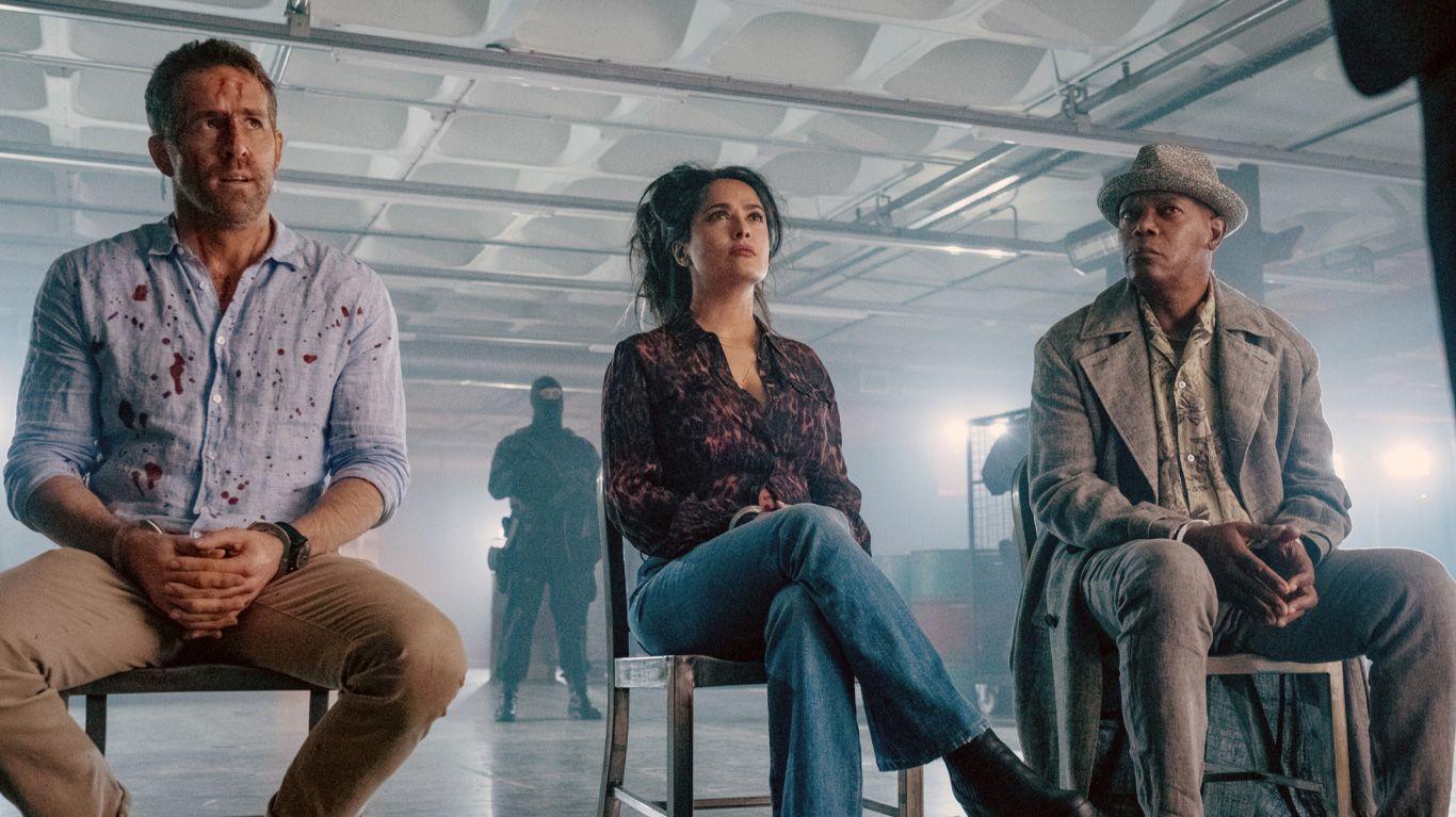 """Ryan Reynolds, Salma Hayek, Samuel L. Jackson in """"The Hitman's Wife's Bodyguard."""""""