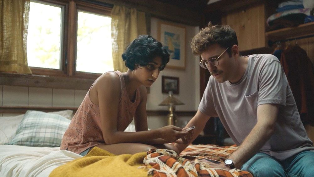 """Sunita Mani and John Reynolds in """"Save Yourselves!"""""""