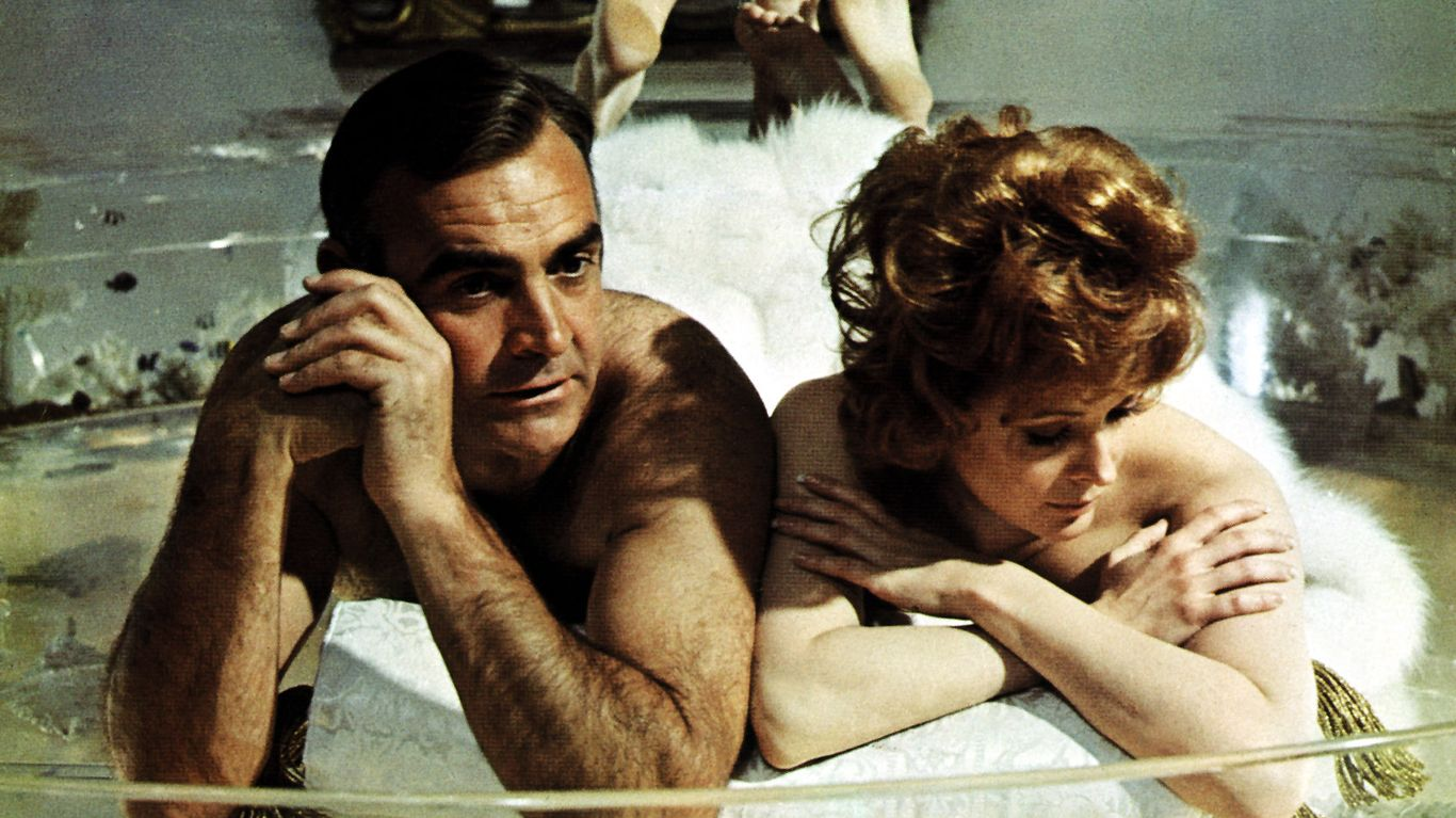 """Sean Connery and Jill St. John in """"Diamonds Are Forever."""""""