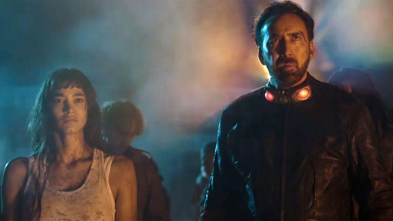 """Sofia Boutella and Nicolas Cage in """"Prisoners of the Ghostland."""""""