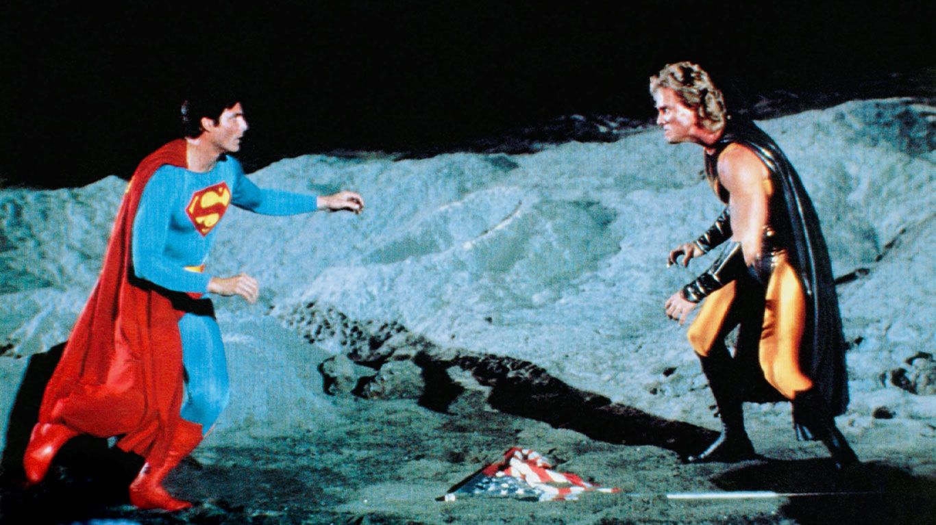 """Christopher Reeve, Mark Pillow in """"Superman IV: The Quest for Peace."""""""