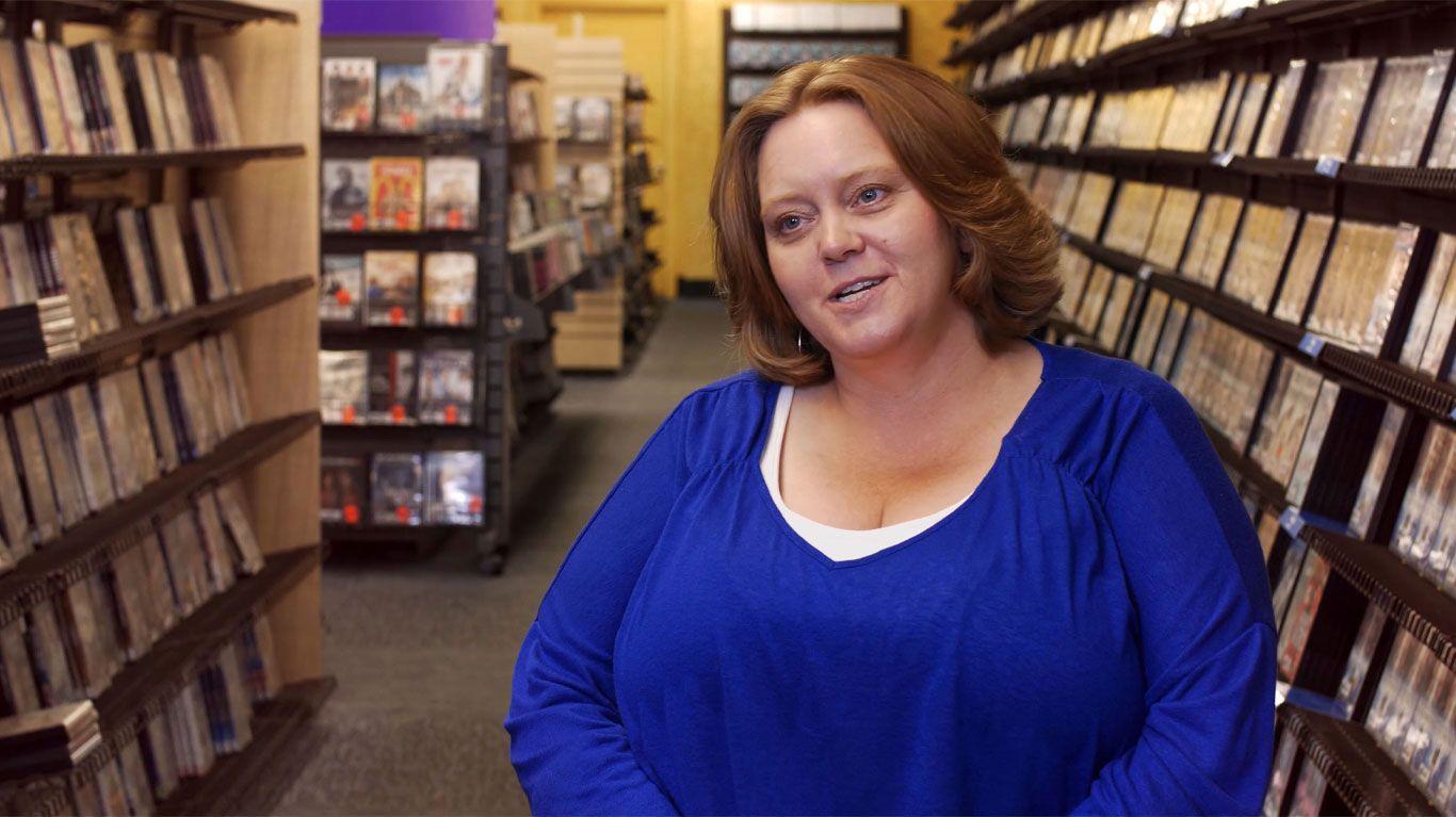 """Sandi Harding, general manager, Blockbuster, Bend, Oregon in """"The Last Blockbuster."""""""