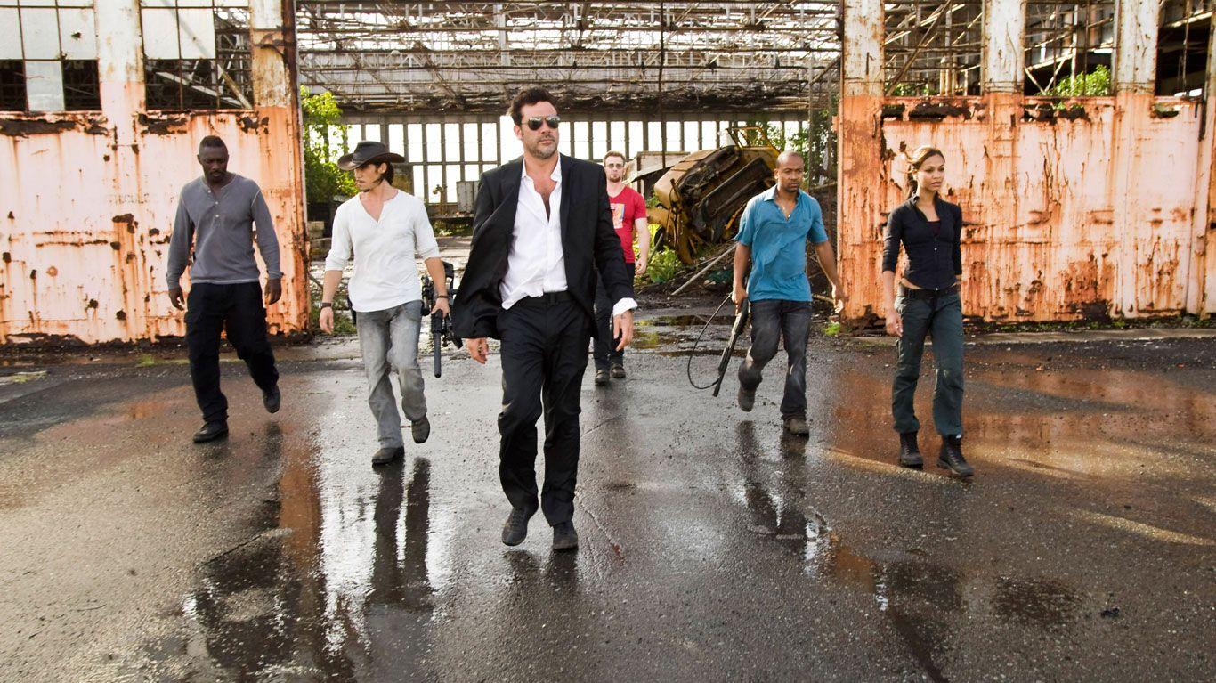 "Idris Elba, Oscar Jaenada, Jeffrey Dean Morgan, Chris Evans, Columbus Short, Zoe Saldana in ""The Losers."""