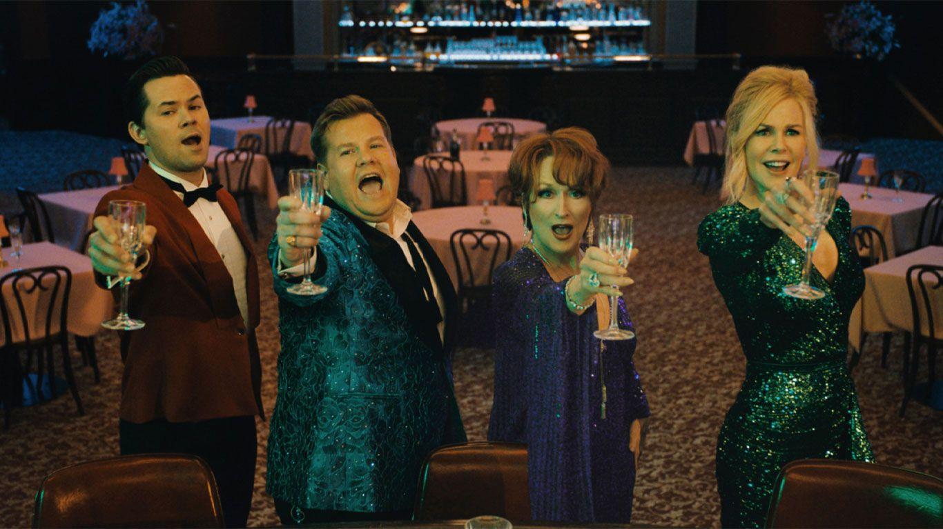"Andrew Rannells, James Corden, Meryl Streep, and Nicole Kidman in ""The Prom."""