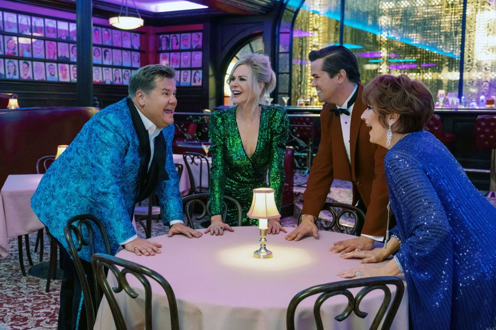 "James Corden, Nicole Kidman, Andrew Rannells and Meryl Streep in ""The Prom."""