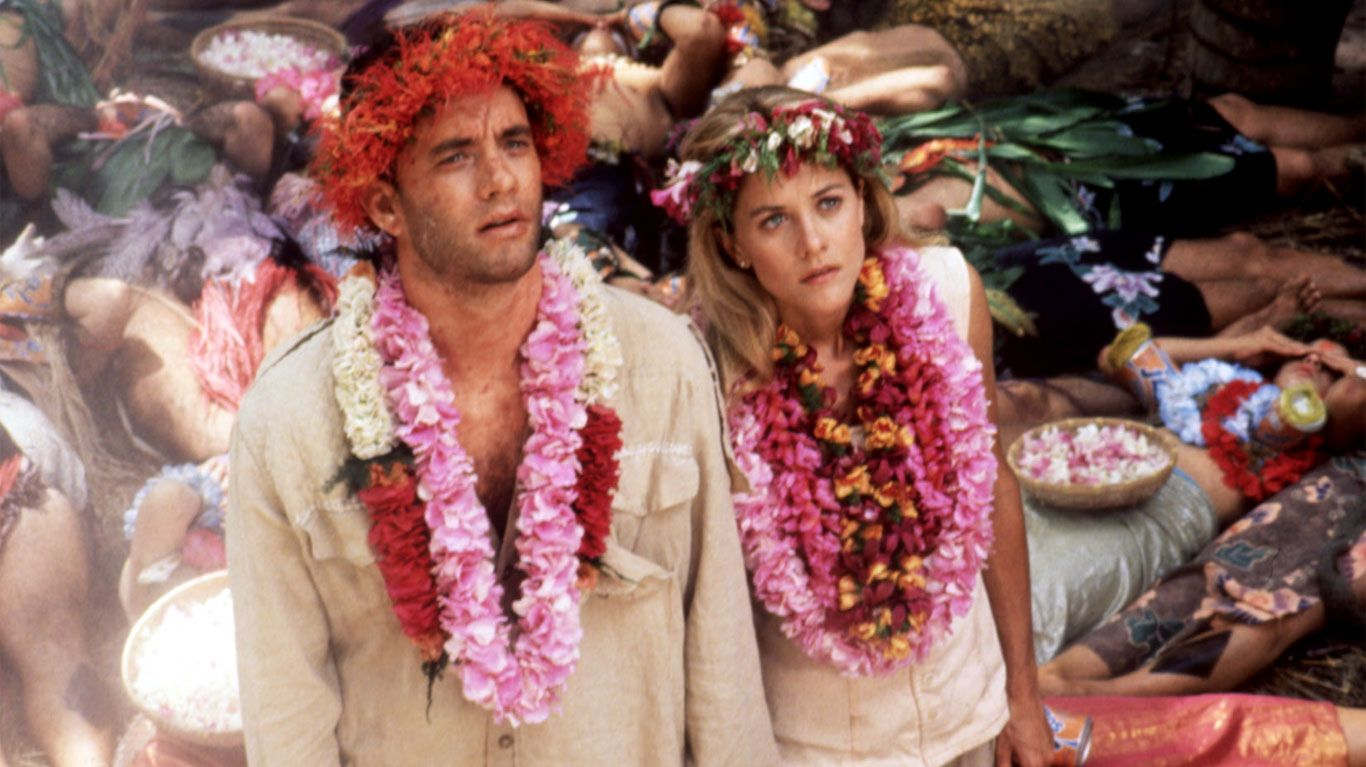 "Tom Hanks and Meg Ryan in ""Joe Versus the Volcano."""