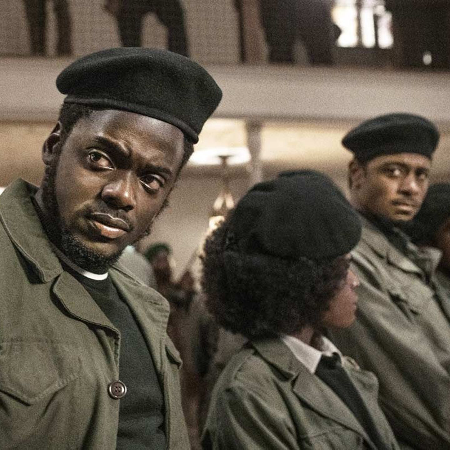 """Darrell Britt-Gibson, Daniel Kaluuya, and LaKeith Stanfield in """"Judas and the Black Messiah."""""""