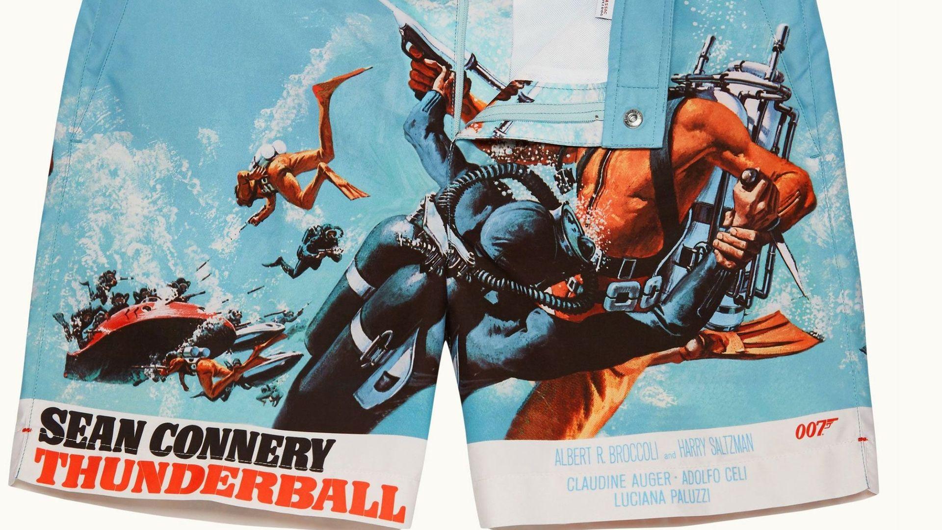 """Thunderball"" branded swim shorts"