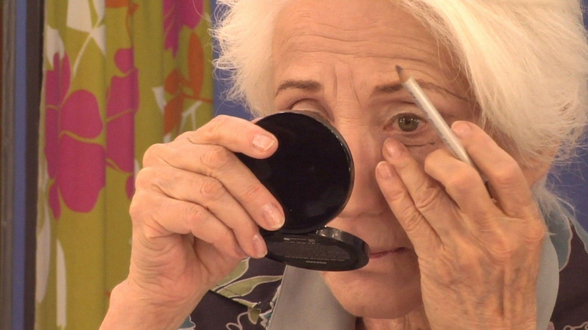 OLYMPIA, Olympia Dukakis applying stage makeup, 2018.