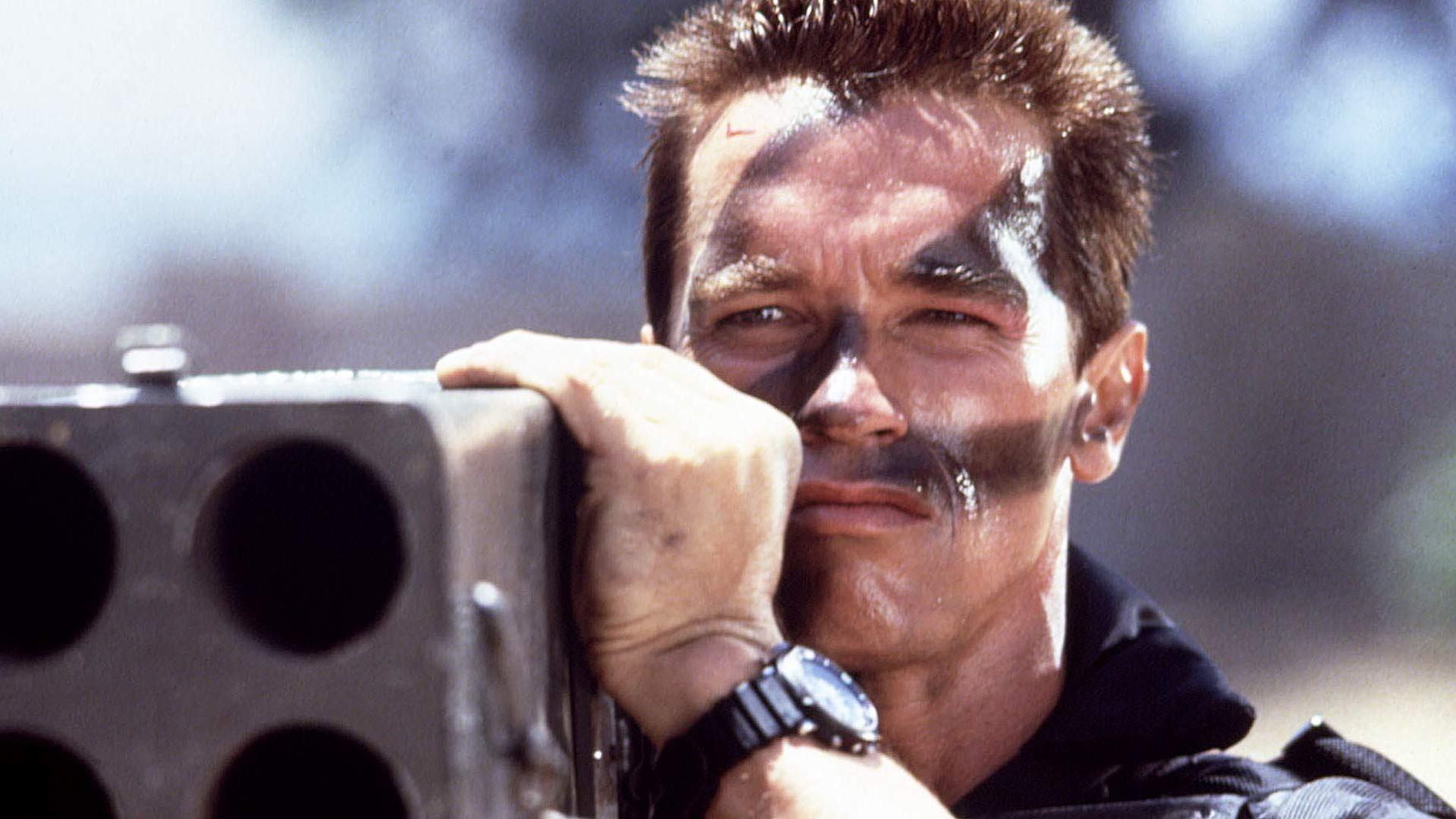 "Arnold Schwarzenegger in ""Commando."""