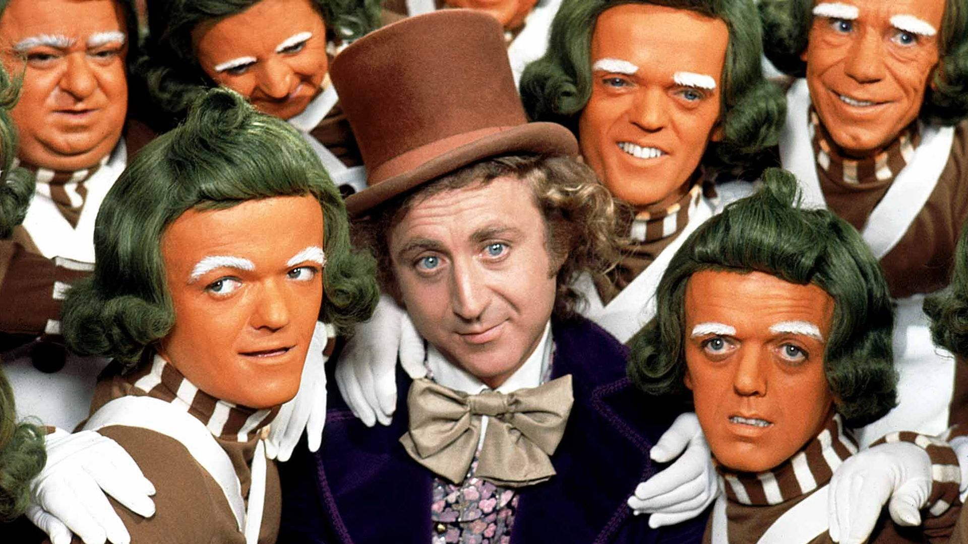 """Gene Wilder and the Oompa-Loompas in """"Willy Wonka and the Chocolate Factory."""""""