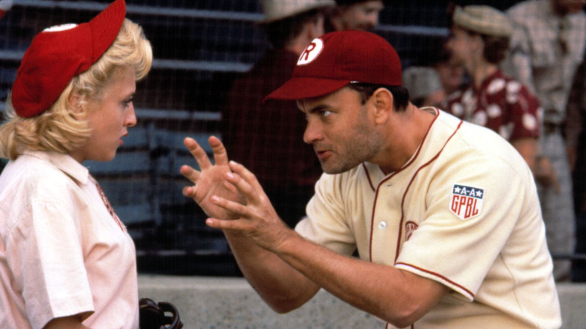 """Bitty Schram and Tom Hanks in """"A League of Their Own."""""""