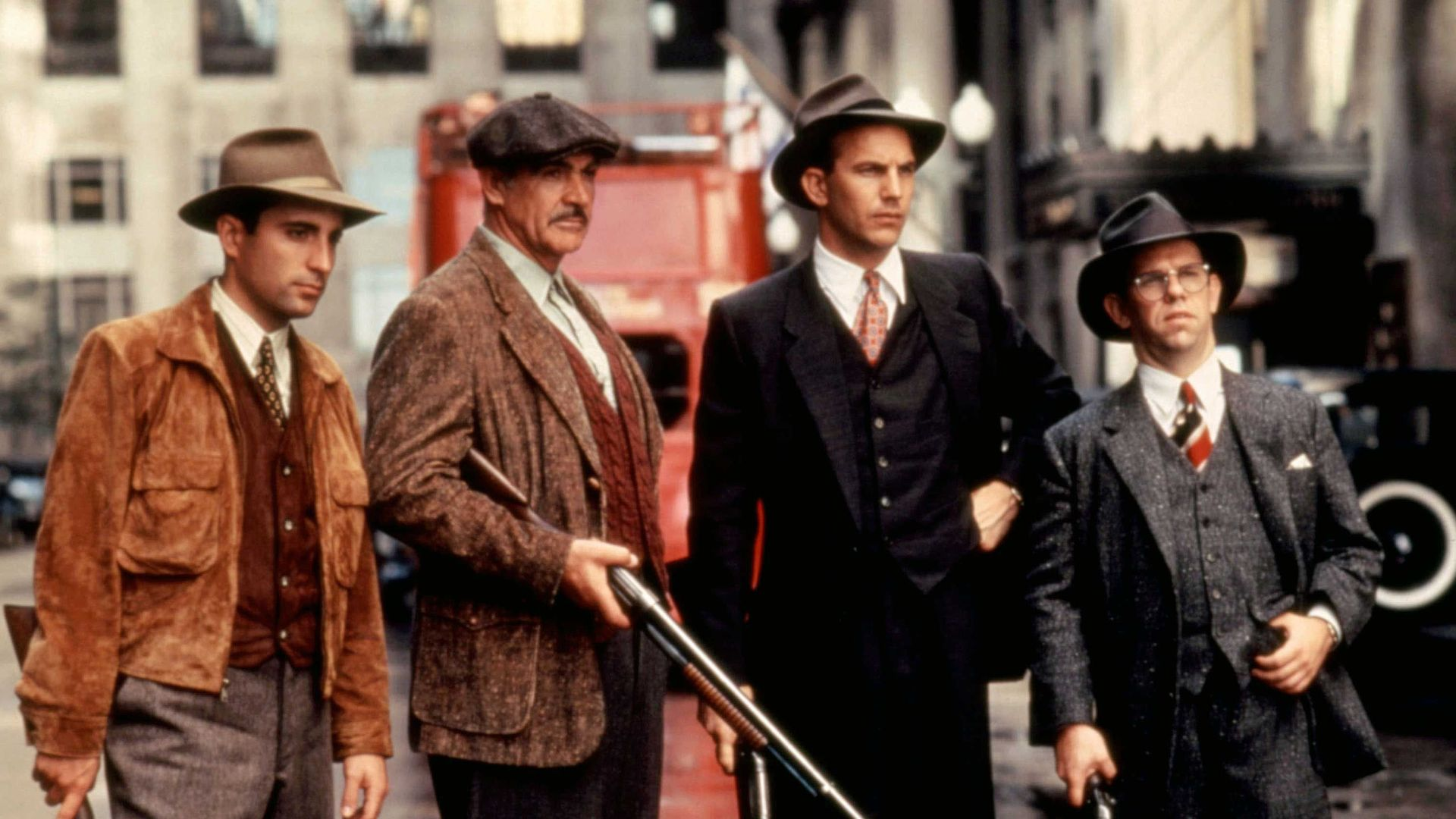 THE UNTOUCHABLES, Andy Garcia, Sean Connery, Kevin Costner, Charles Martin Smith, 1987.