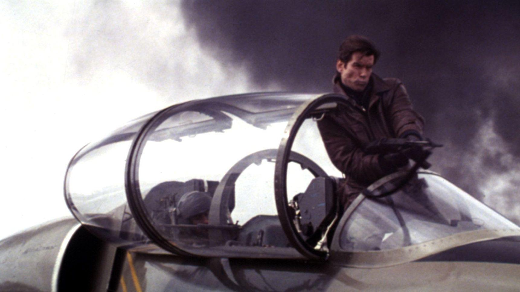 "Pierce Brosnan in an Aero L-39 Albatros in ""Tomorrow Never Dies."""