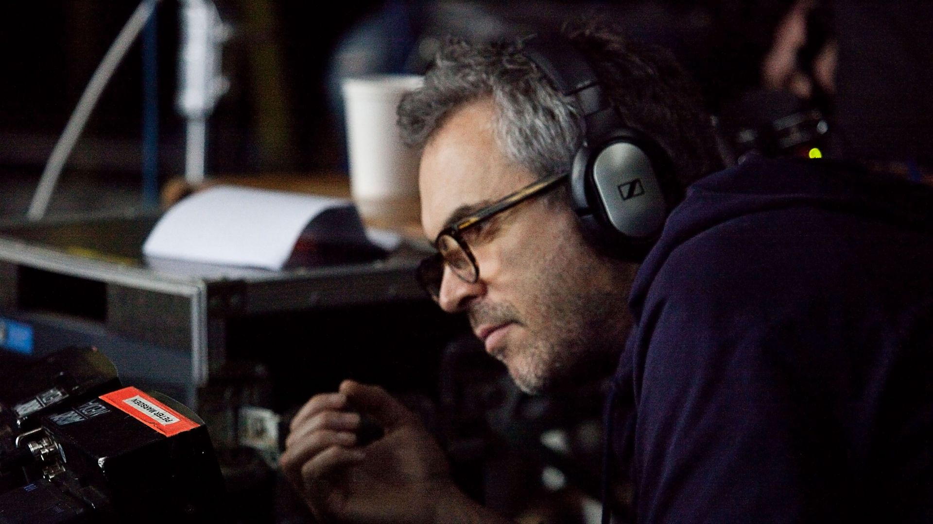 """Alfonso Cuaron on set of """"Gravity."""""""