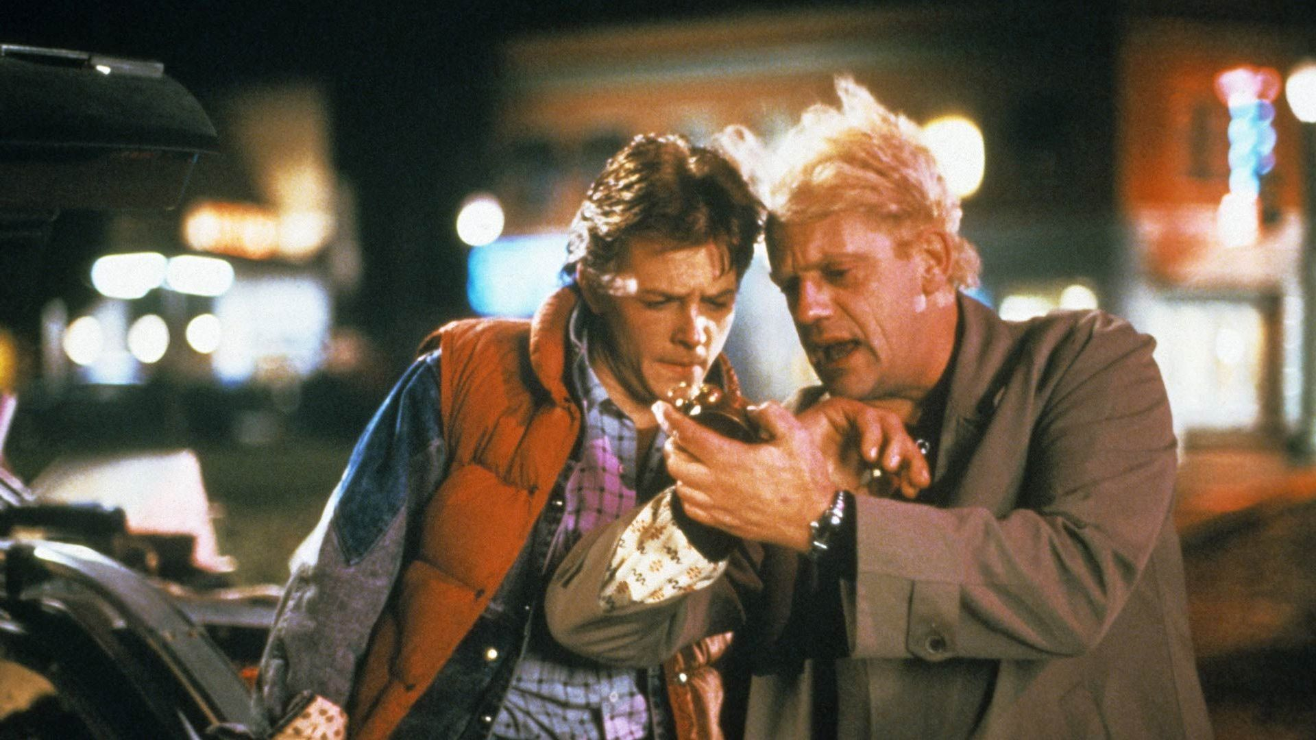 """Michael J. Fox and Christopher Lloyd in """"Back to the Future."""""""