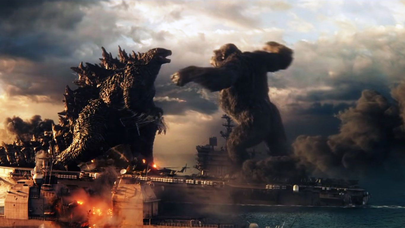 "Godzilla battles King Kong in ""Godzilla vs. Kong."""