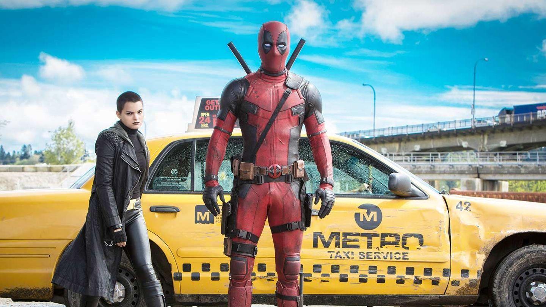 "Brianna Hildebrand and Ryan Reynolds in ""Deadpool."""