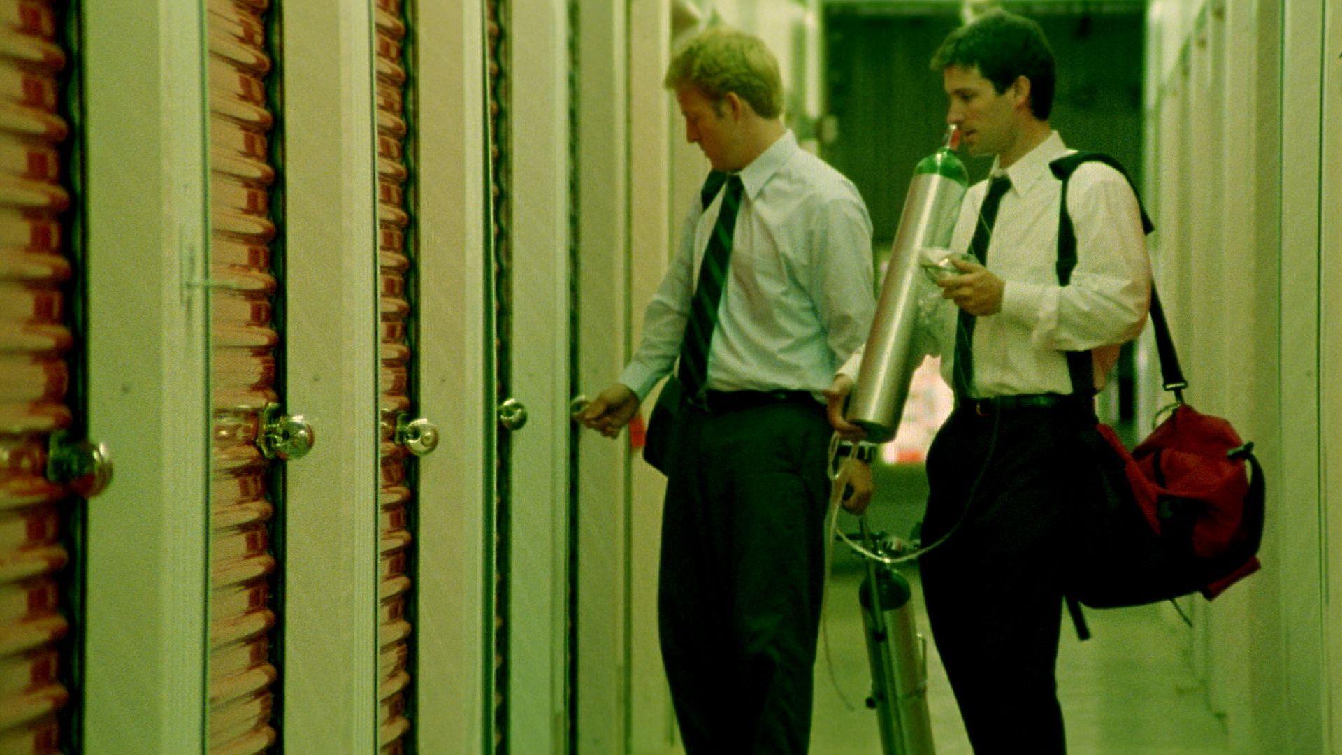 "David Sullivan and Shane Carruth in ""Primer."""
