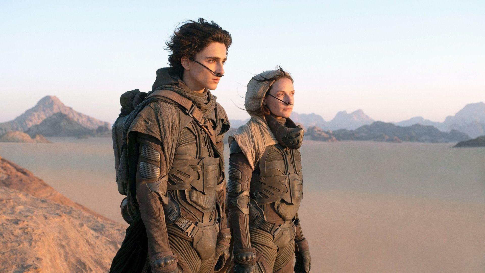 "Timothee Chalamet and Rebecca Ferguson in ""Dune."""