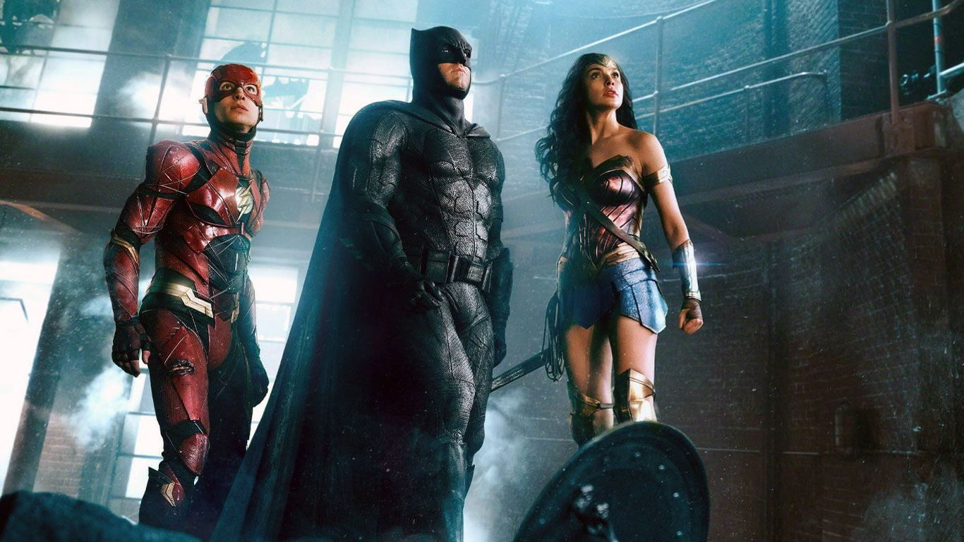 "Ezra Miller as The Flash, Ben Affleck as Batman, Gal Gadot as Wonder Woman in ""Justice League."""