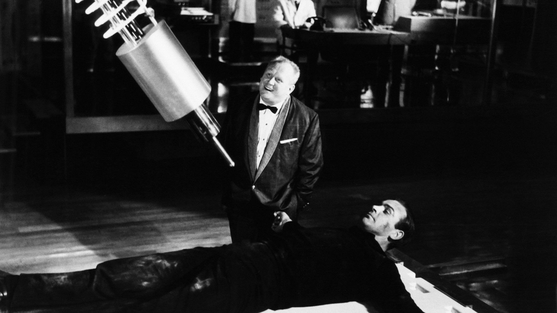 """Gert Frobe and Sean Connery in """"Goldfinger."""""""