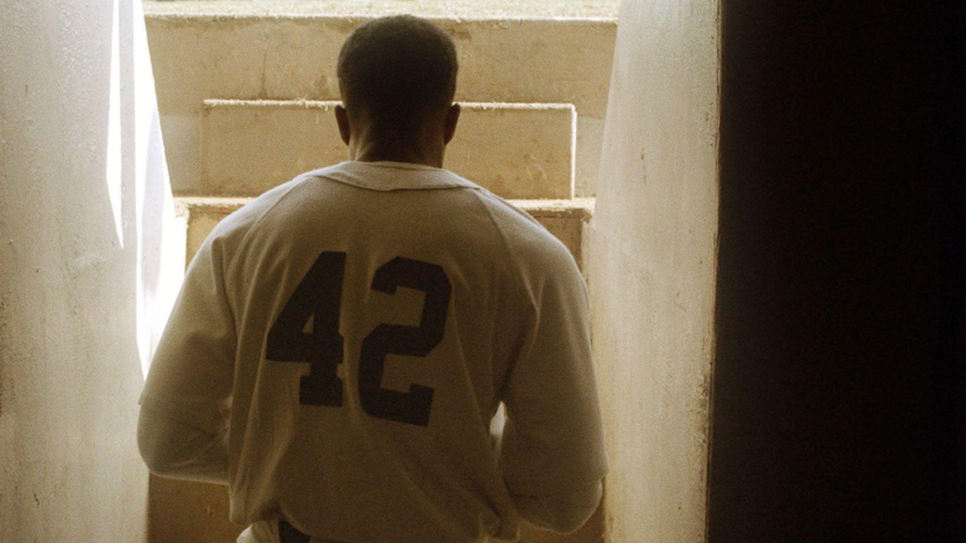 "Great Movie Sluggers - Chadwick Boseman as Jackie Robinson in ""42."""