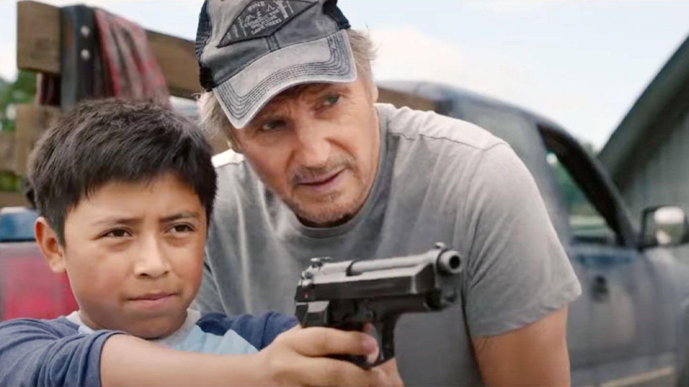 """Jacob Perez and Liam Neeson in """"The Marksman."""""""