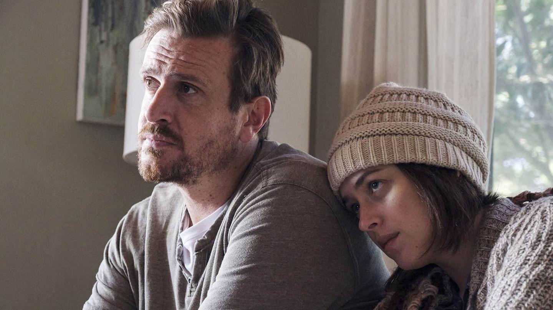 "Jason Segel and Dakota Johnson in ""Our Friend."""