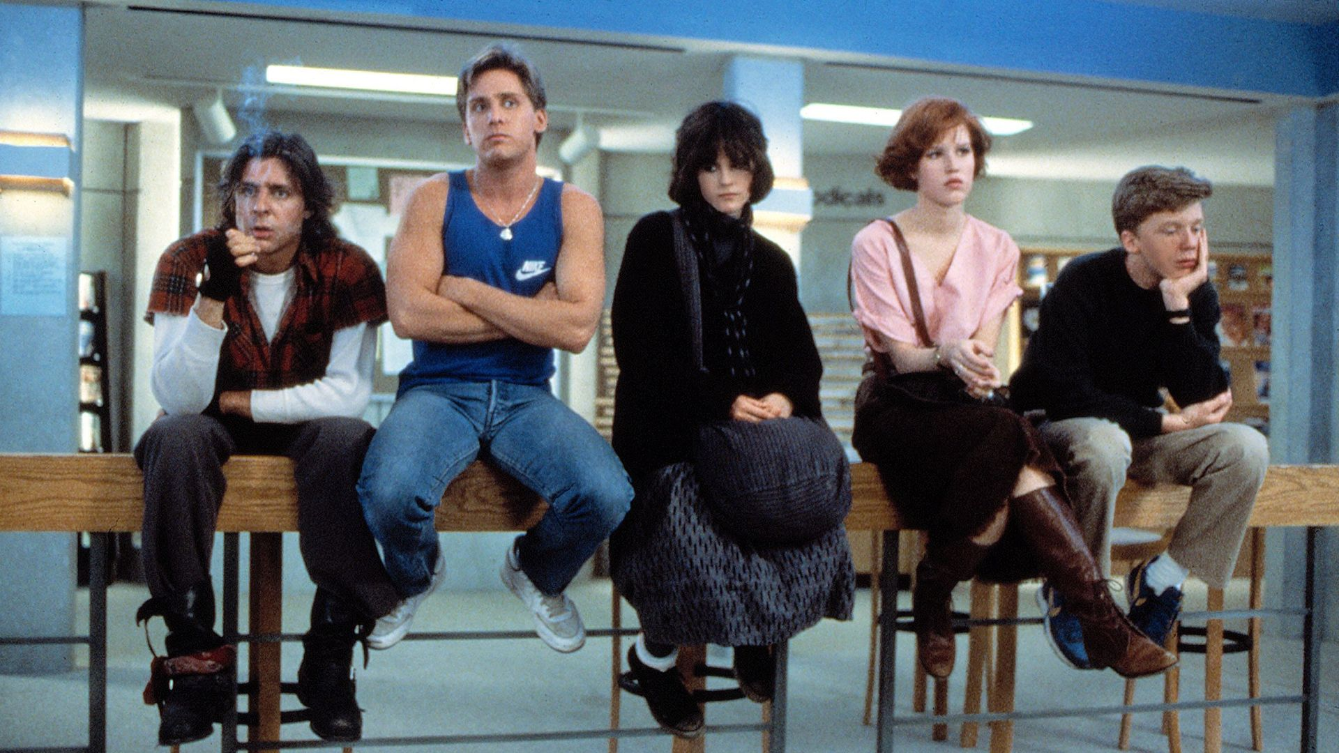 "Judd Nelson, Emilio Estevez, Ally Sheedy, Molly Ringwald and Anthony Michael Hall in ""The Breakfast Club."""