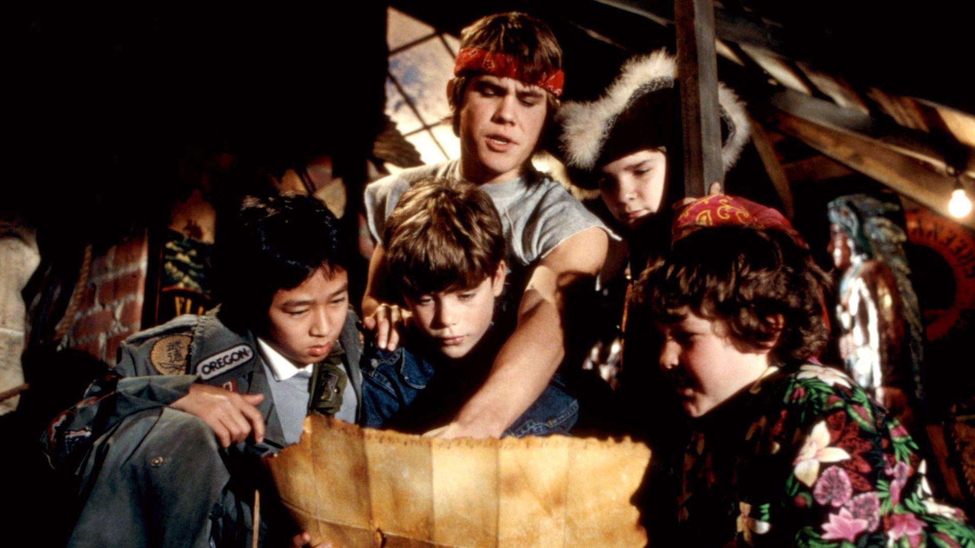 "Ke Huy Quan (aka Jonathan Ke Quan), Sean Astin, Josh Brolin, Corey Feldman and Jeff Cohen in ""The Goonies."""
