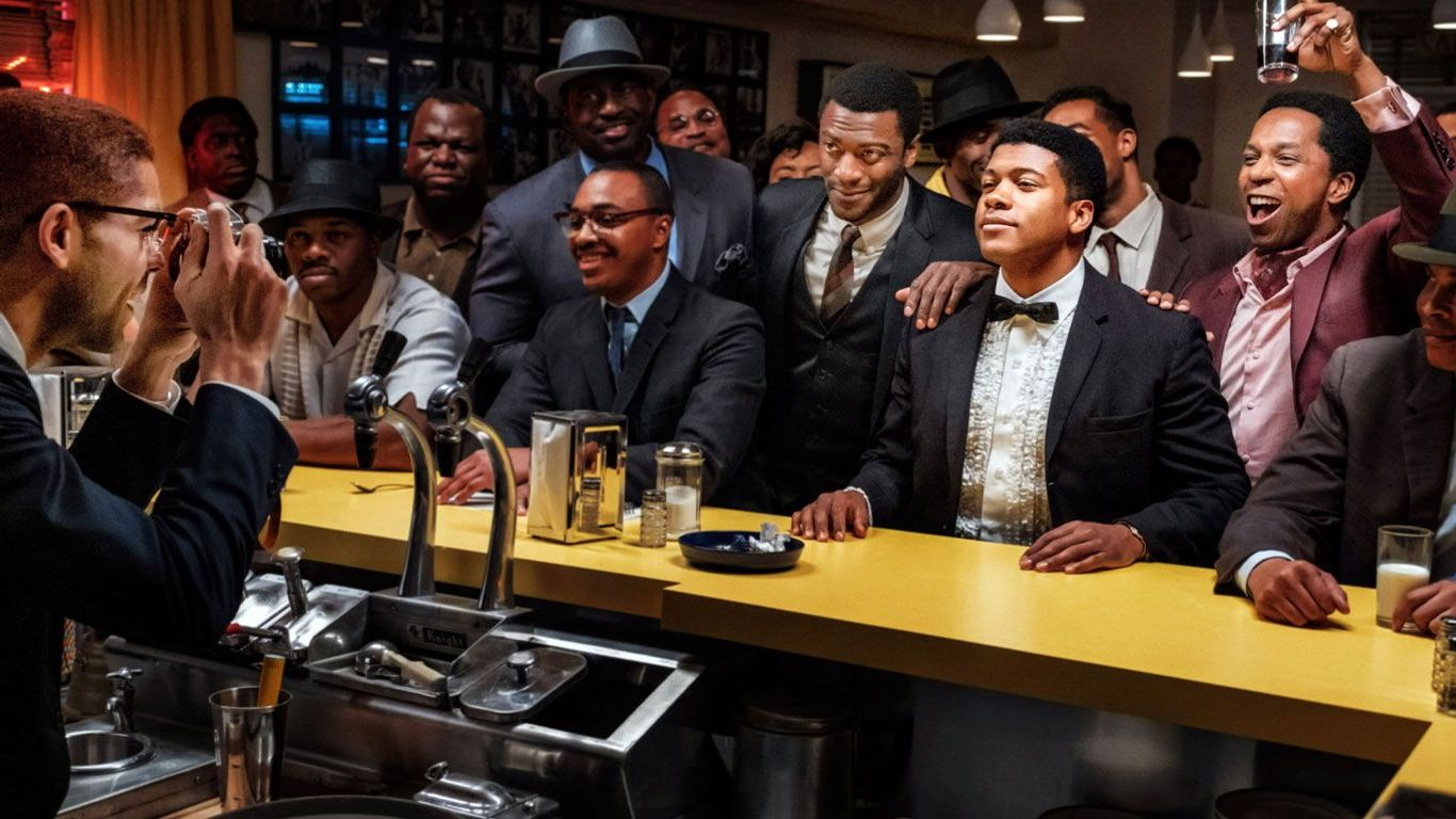 "Aldis Hodge as Jim Brown, Eli Goree as Cassius Clay, Leslie Odom Jr. as Sam Cooke, in ""One Night in Miami."""