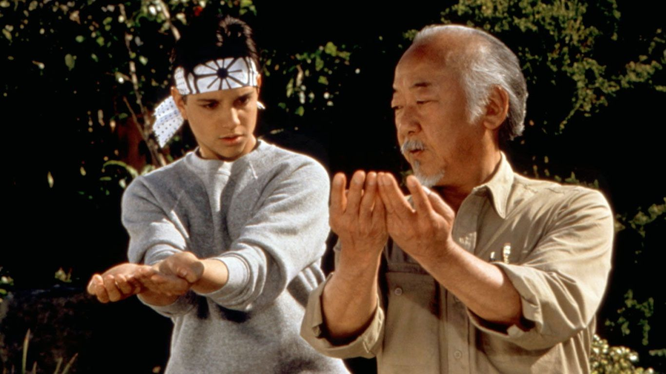 "Ralph Macchio and Pat Morita in ""The Karate Kid, Part III."""