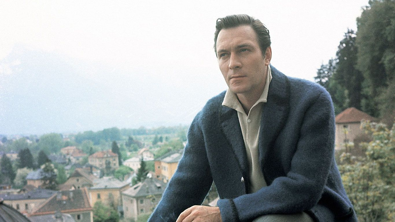 """Christopher Plummer on the set of """"The Sound of Music."""""""