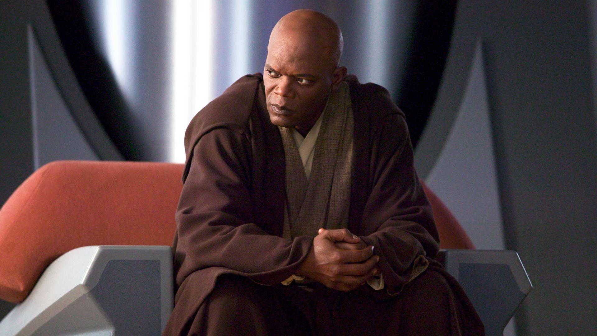 "Samuel L. Jackson in ""Star Wars: Episode III – Revenge of the Sith."""