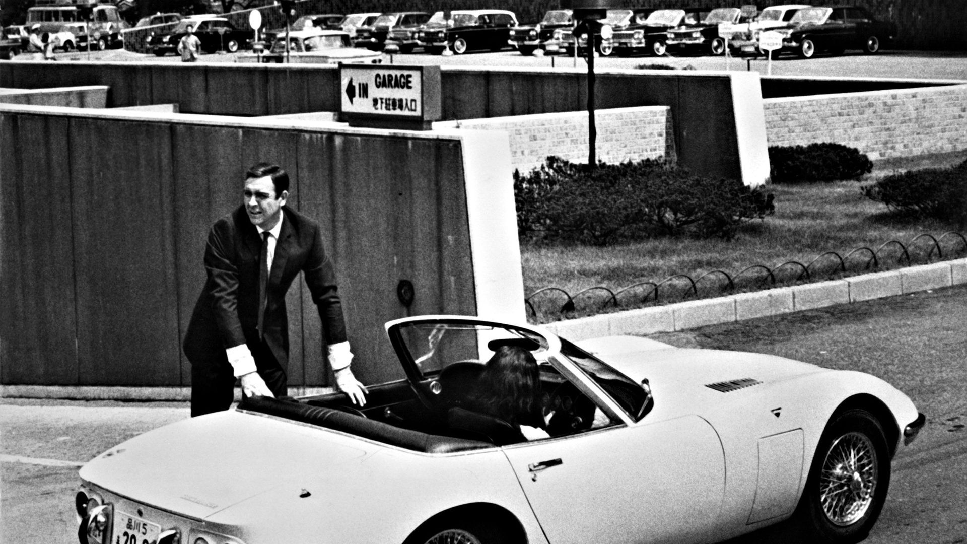 """Sean Connery and the Toyota GT 2000 from """"You Only Live Twice."""""""