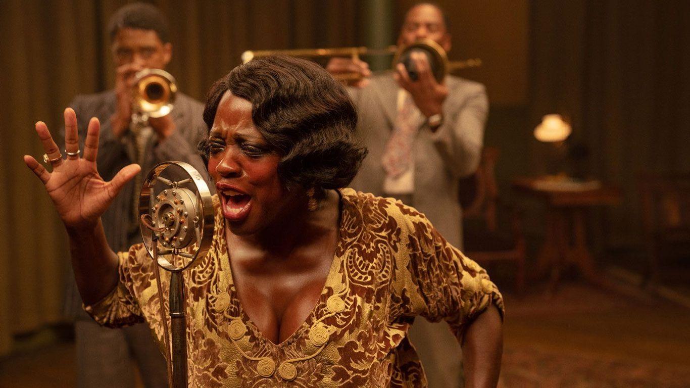"Chadwick Boseman, Viola Davis and Colman Domingo in ""Ma Rainey's Black Bottom."""